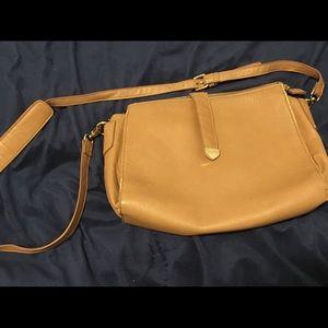 Tan faux leather square bag